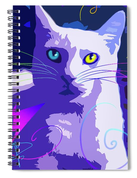 Pop Cat Blue Spiral Notebook