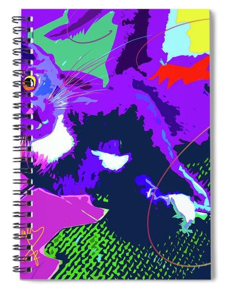 Pop Cat Kitten With String Spiral Notebook