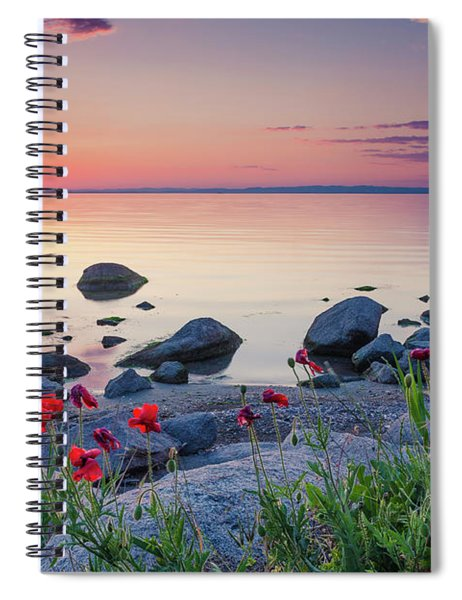 Poppies By The Sea Spiral Notebook