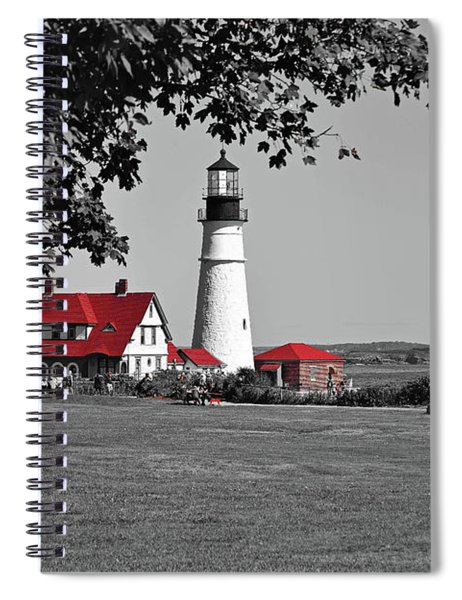 Spiral Notebook featuring the photograph Portland Head Red by Patti Whitten