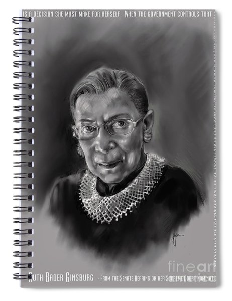 Portrait Of Ruth Bader Ginsburg Spiral Notebook