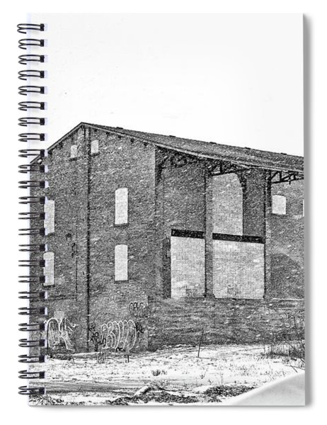 Powerless Station In A Blizzard Bw Spiral Notebook