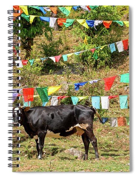 Prayer Flags And A Cow On The Kora Mcleod Ganj Spiral Notebook
