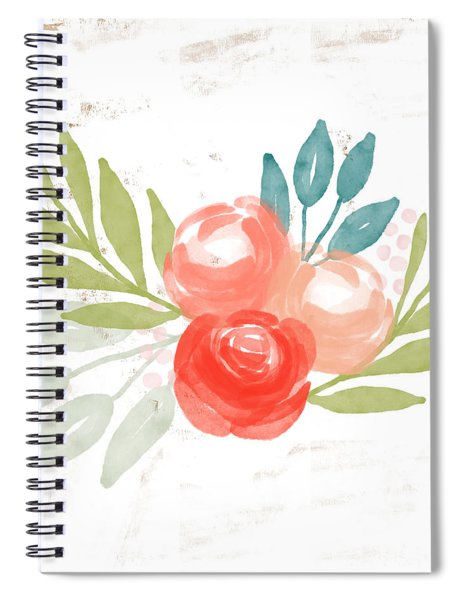 Pretty Coral Roses - Art By Linda Woods Spiral Notebook