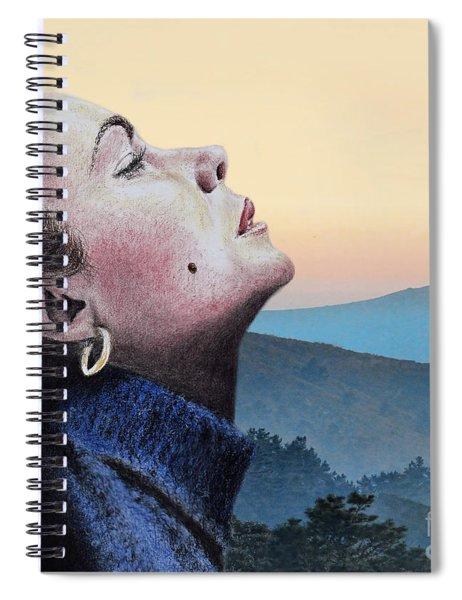 Profile Portrait Of Liz Taylor At Sunset Spiral Notebook
