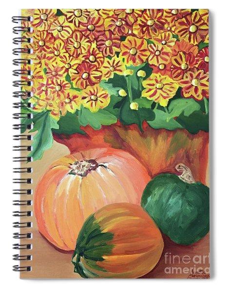Pumpkin With Flowers Spiral Notebook