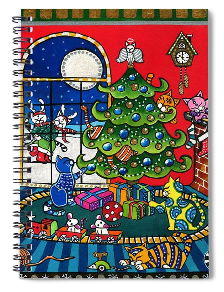 Purrfect Christmas Cat Painting Spiral Notebook