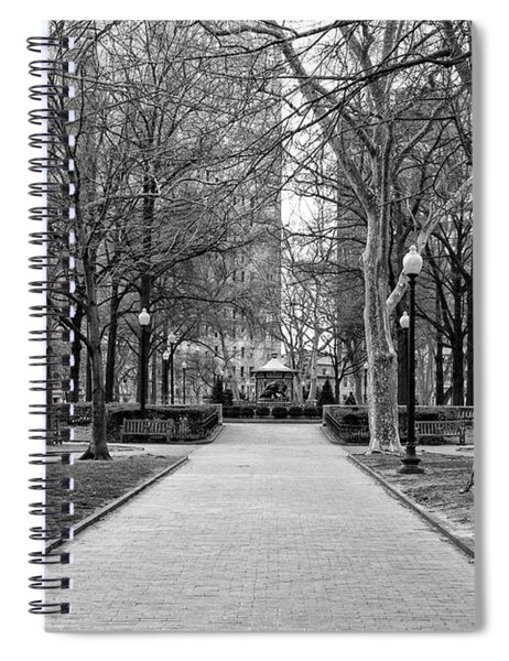 Quiet Morning In Rittenhouse Square In Black And White Spiral Notebook