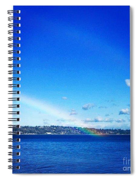 Rainbow In Blue Spiral Notebook