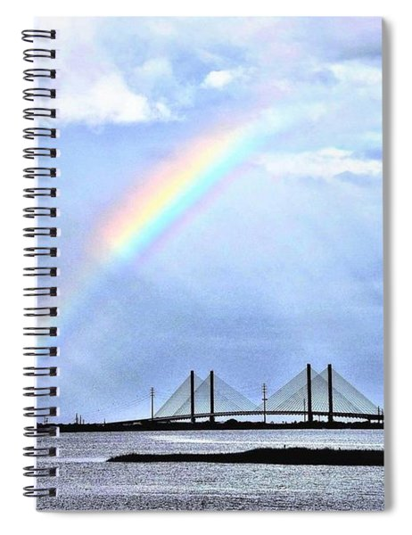 Rainbow Over The Indian River Inlet Bridge Spiral Notebook
