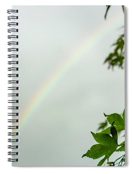 Rainbow With Leaves In Foreground Spiral Notebook