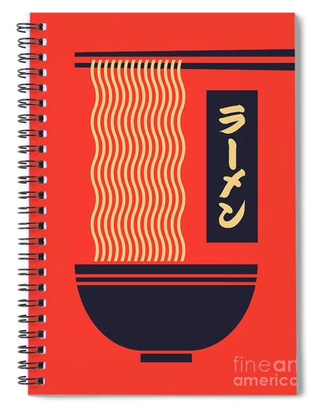 Ramen Japanese Food Noodle Bowl Chopsticks - Red Spiral Notebook