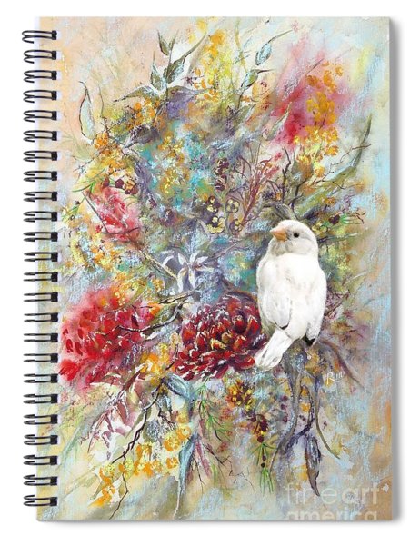 Rare White Sparrow - Portrait View. Spiral Notebook