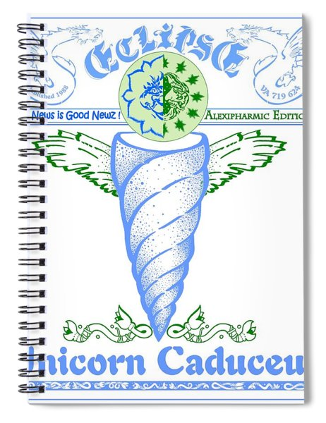 Real Fake News Eclipse Unicorn Caduceus Spiral Notebook