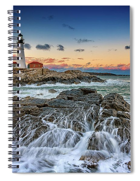 Receding Cascade At Portland Head Spiral Notebook