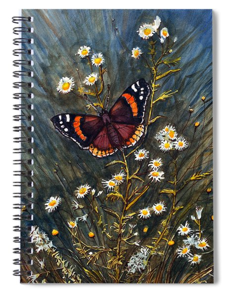 Red Admiral And Wild Aster Spiral Notebook