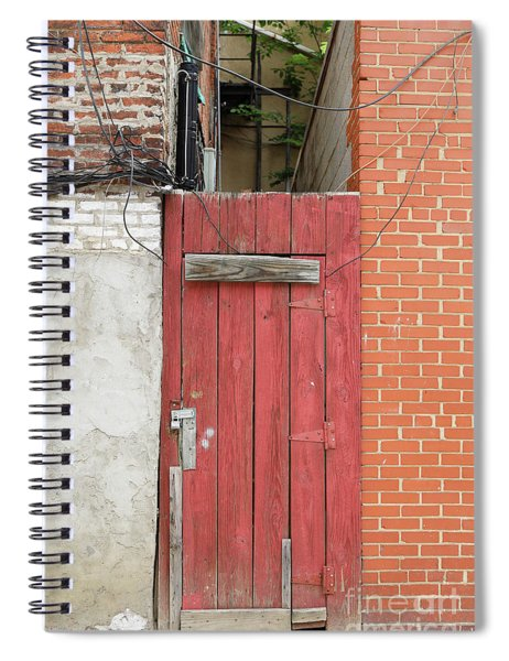 Red Alley Door Chinatown Washington Dc Spiral Notebook by Edward Fielding
