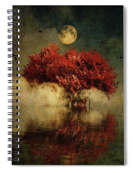 Spiral Notebook featuring the digital art Red American Oak In A Dream by Jan Keteleer