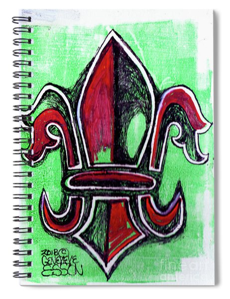 Red And Green Fleur De Lys Drawing Spiral Notebook