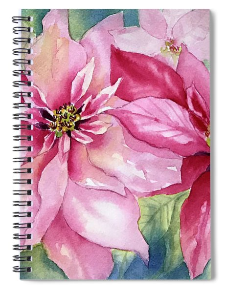 Red And Pink Poinsettias Spiral Notebook