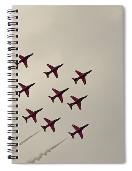 Red Arrows Diamond Formation Raf Cosford 2019 Spiral Notebook by Scott Lyons
