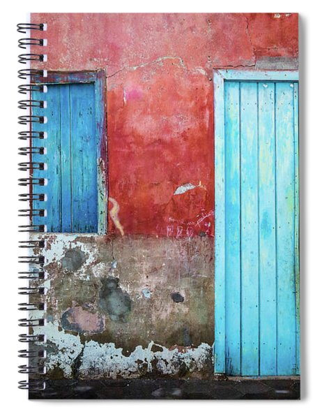 Red, Blue And Grey Wall, Door And Window Spiral Notebook