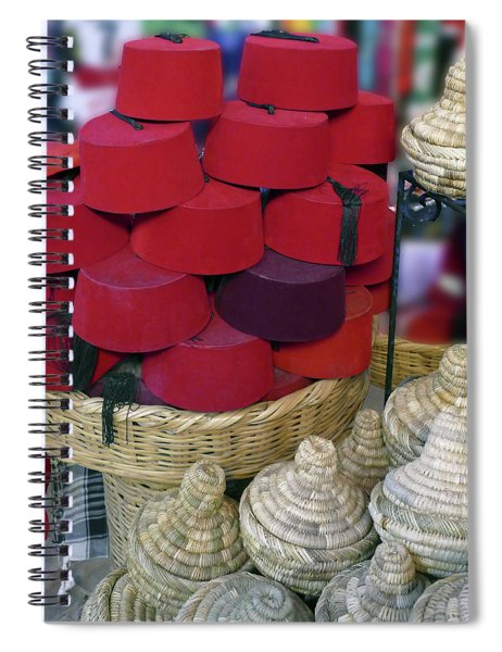 Red Fez Tarbouche And White Wicker Tagine Cookers Spiral Notebook