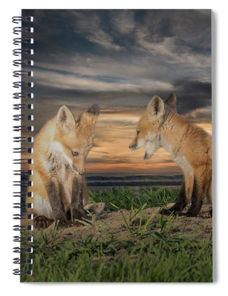 Spiral Notebook featuring the photograph Red Fox Kits - Past Curfew by Patti Deters