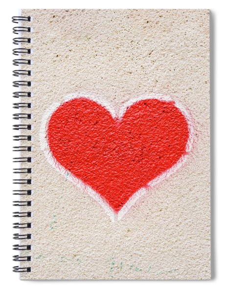 Red Heart Painted On A Wall, Message Of Love. Spiral Notebook