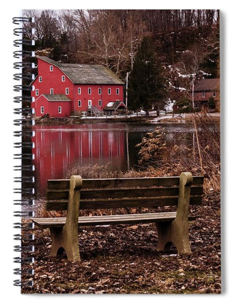 Red Mill Reflection Clinton New Jersey Square Spiral Notebook