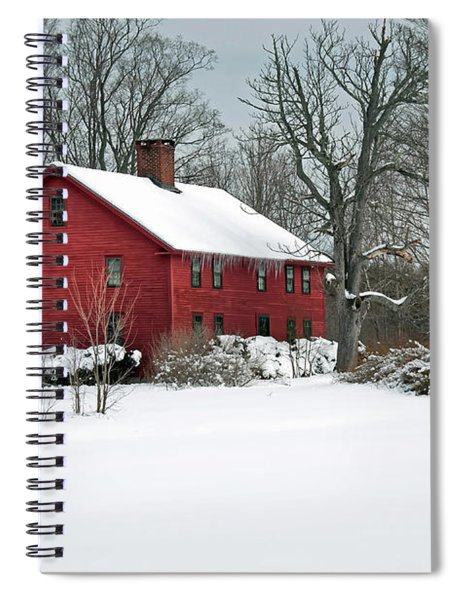 Red New England Colonial In Winter Spiral Notebook