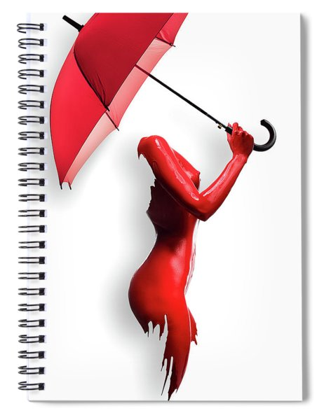 Red Painted Body With Umbrella Spiral Notebook