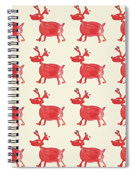 Red Reindeer Pattern Spiral Notebook