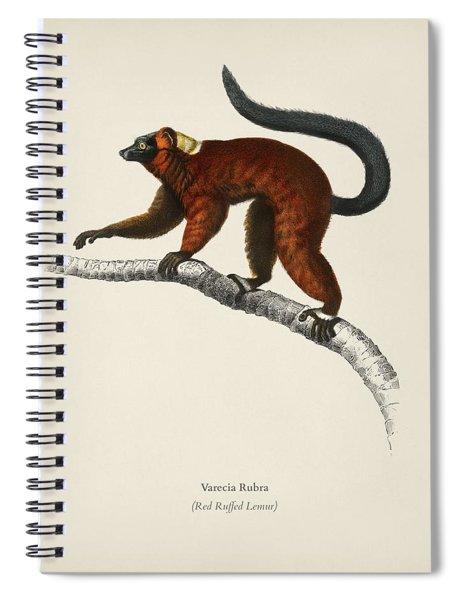 Red Ruffed Lemur  Varecia Rubra  Illustrated By Charles Dessalines D' Orbigny  1806-1876  Spiral Notebook