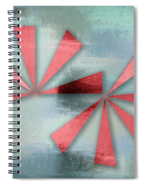 Red Triangles On Blue Grey Backdrop Spiral Notebook