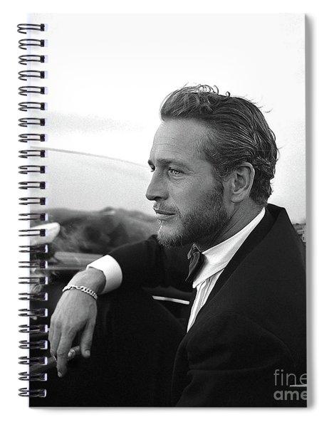 Reflecting, Paul Newman, Movie Star, Cruising Venice, Enjoying A Cuban Cigar, Black And White Spiral Notebook