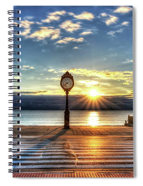 Revere Beach Clock At Sunrise Angled Long Shadow Revere Ma Spiral Notebook