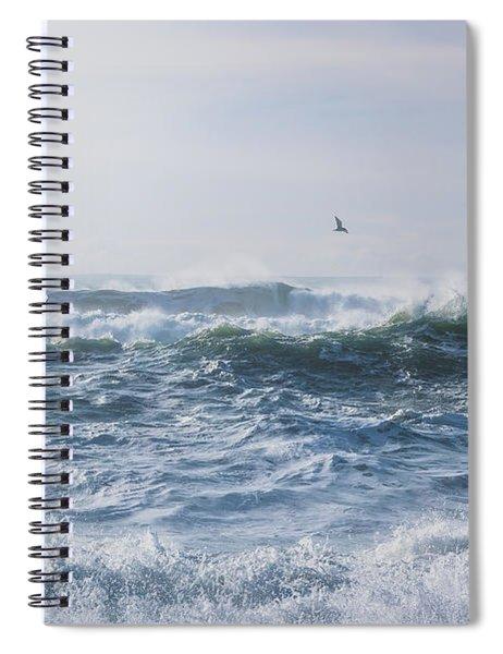 Reynisfjara Seagull Over Crashing Waves Spiral Notebook