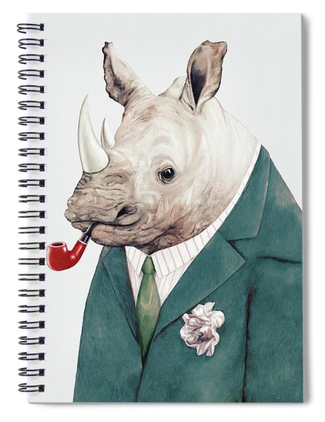 Rhino In Teal Spiral Notebook