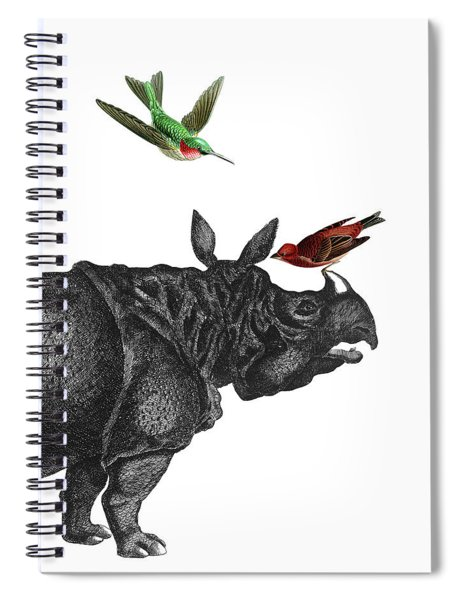 Rhinoceros With Birds Art Print Spiral Notebook