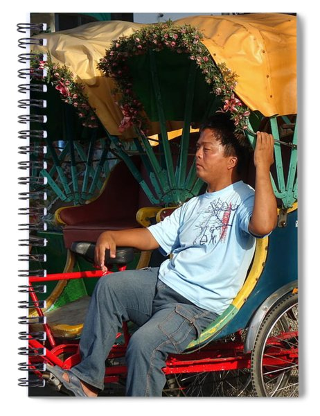 Rickshaw Driver In Taiwan Takes A Nap Spiral Notebook