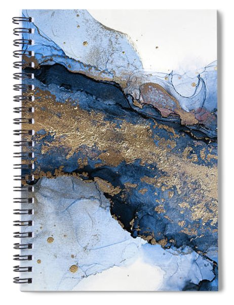 River Of Blue And Gold Abstract Painting Spiral Notebook