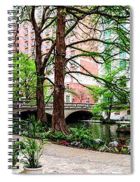 River Walk At The Navarro St Bridge Panorama 2015 Spiral Notebook