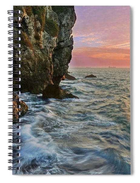 Rocky Cliffs And Waves During Sunset Spiral Notebook