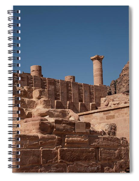 Roman Temple In Petra Spiral Notebook by Mae Wertz