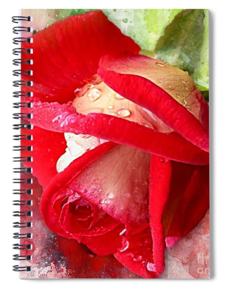 Rose And Water Drops Spiral Notebook