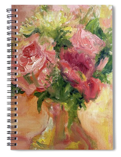 Roses In Gold Spiral Notebook
