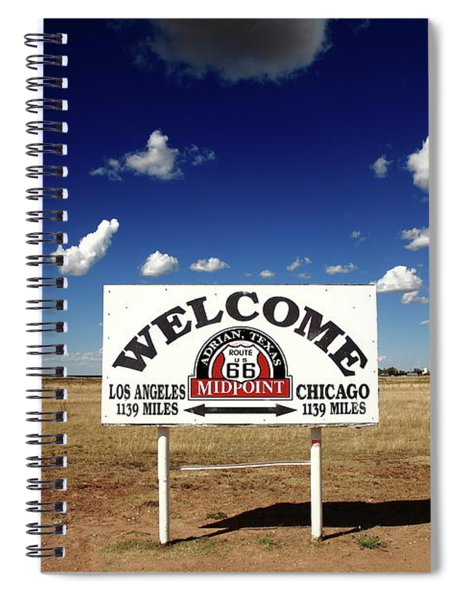 Route 66 - Midpoint Sign 2010 Bw Spiral Notebook
