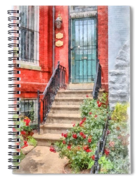 Row Houses Washington Dc 2 Watercolor Spiral Notebook