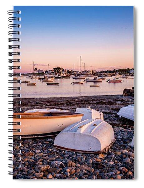 Rowboats At Rye Harbor, Sunset Spiral Notebook